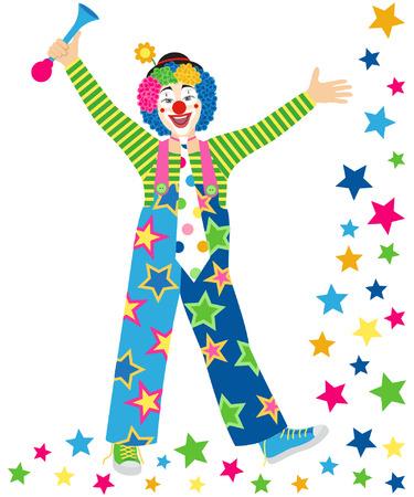 Uśmiechnięta clown clown z krawat i róg na białym tle