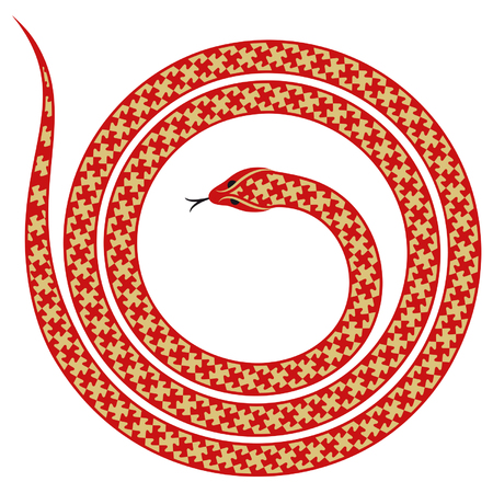 long tongue: Spiral snake with abstract decoration isolated on white background Illustration