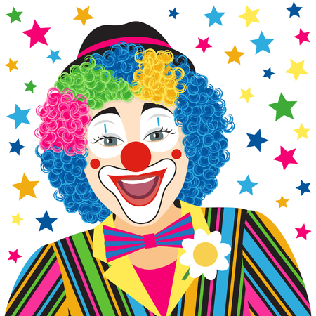 circus clown: Foreground smiling clown isolated on white background Illustration