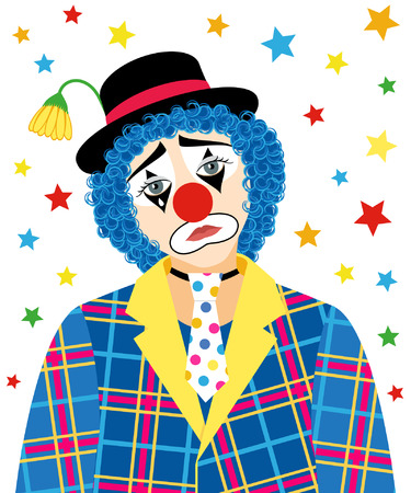 Foreground of sad clown with a tear and withered flower in the hat