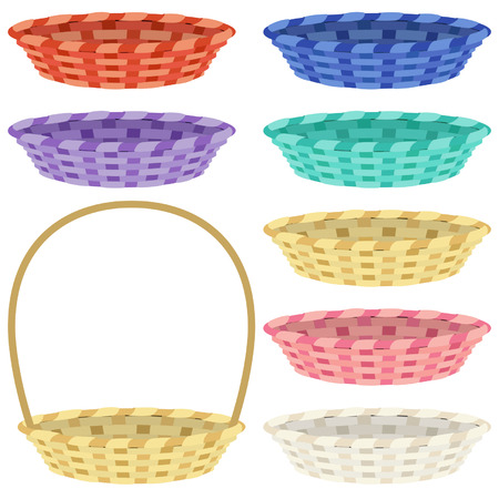 bast basket: Set of empty colorful baskets isolated on white Illustration