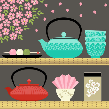 Oriental tea time with teapots, cups, flowers and sweets
