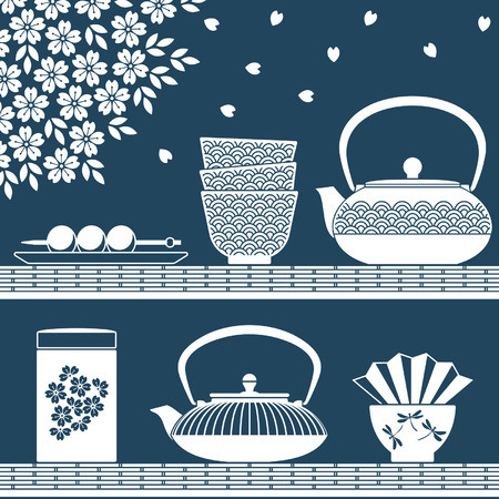 tea ceremony: Plain colored objects for oriental tea time with teapots, cups, flowers and sweets Illustration