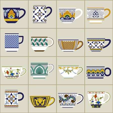 earthenware: Collection of italian cups with different shapes and decors