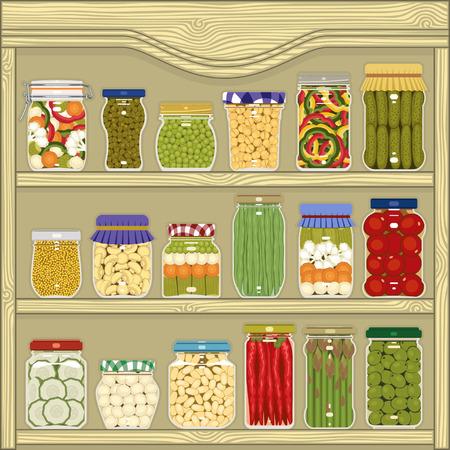 gherkin: Jars of homemade pickled vegetables in the cupboard Illustration
