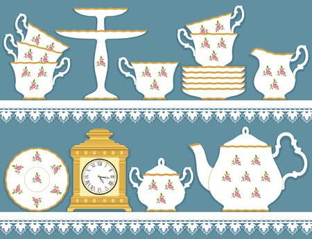 stand teapot: White tea set with roses motif and clock on lace  tablecloth