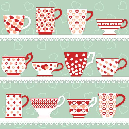 Cups and mugs collection with hearts decorations on different shapes