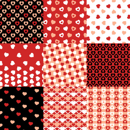 heart month: Pattern set of motif with hearts