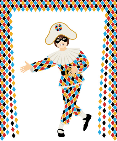 Girl with Harlequin Costume bows on white background with curtain Illustration