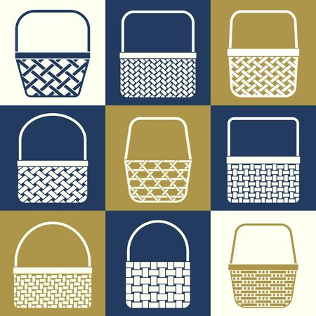 wickerwork: Set of stylized baskets with different weaves for shopping Illustration