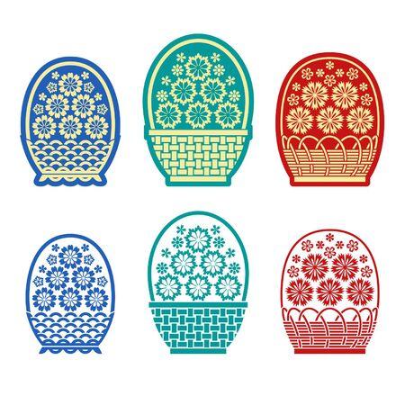 twining: Stylized baskets of flowers isolated on white background Illustration