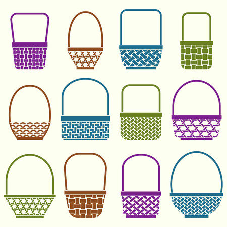 Stylized baskets with different weaves on white background Illusztráció