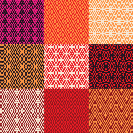 Pattern set of geometric shapes in ethnic style Illustration