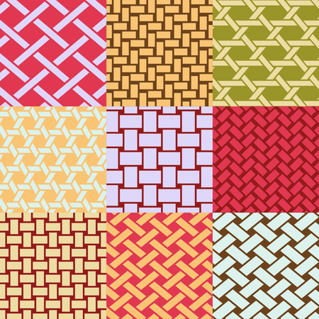 Patterns collection of different interweave of baskets. Illustration