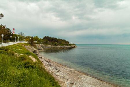 The Black Sea coast in Gelendzhik. Overcast weather. Late spring
