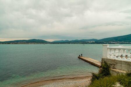 Cove in Gelendzhik. Black Sea coast, view of the Caucasus mountains. Fishing Stock fotó