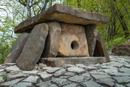 Dolmen, megalithic tomb of the Middle Bronze Age 3000 2000 BC . in the vicinity of the resort city of Gelendzhik. Western Caucasus, Russia