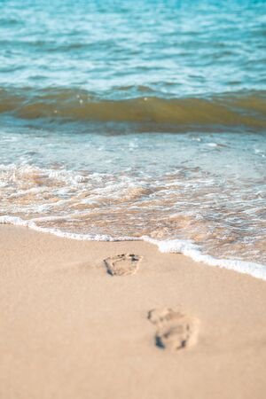 children's footprints on the sand to the sea