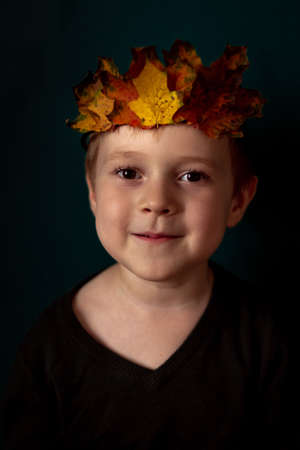Portrait of a smiling 4-6 child with a crown of leaves on his head Stock fotó