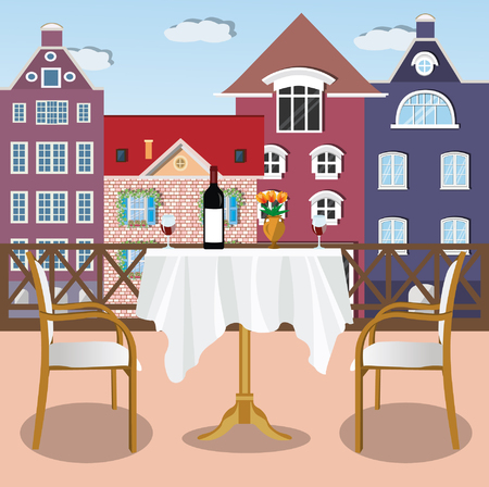 Large comfortable terrace with table and chairs. View from the balcony of the city. Flat style vector illustration. Ilustração Vetorial