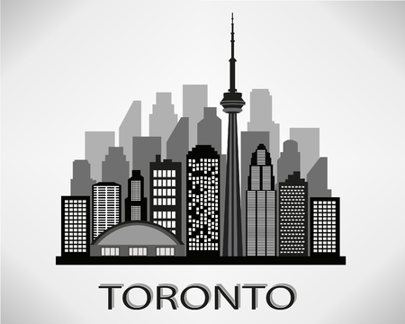 Toronto City skyline silhouette black and white design. Vector illustration.