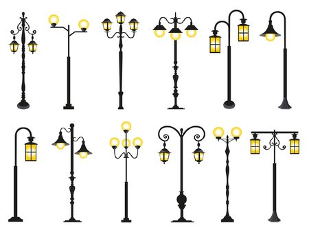 Set of different streetlights on white background. Flat style vector illustration.
