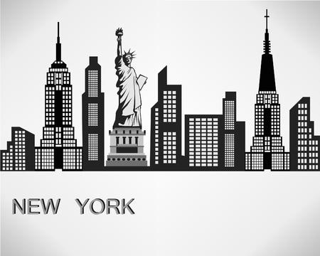 New York city skyline detailed silhouette. Vector illustration.  イラスト・ベクター素材