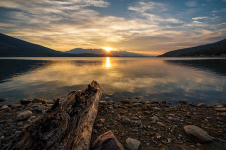 Kinbasket Lake, Canoe Reach, near Valemount, British Columbia in the Robson Valley region of North Thompson Stok Fotoğraf