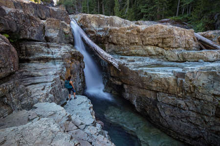 vancouver island: Female Hiker, Lower Myra Falls, Strathcona Provincial Park, Campbell River, Vancouver Island, British Columbia, Canada