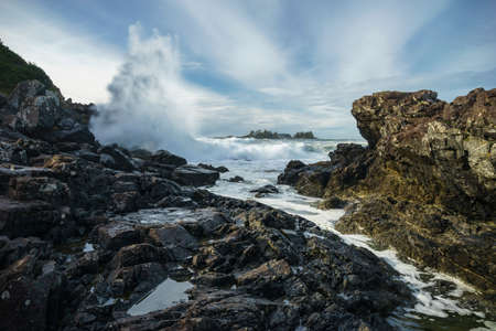 vancouver island: Waves Crashing at Pettinger Point, Cox Bay, Pacific Rim National Park, Tofino, Ucluelet, Vancouver Island,  British Columbia, Canada