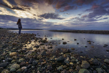 vancouver island: Girl at Qualicum Beach, Vancouver Island, British Columbia