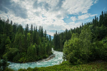 meandering: The meandering aqua waters of the Robson River near Mount Robson, British Columbia, Canada