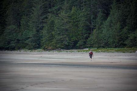 josef: Man Walking Beach at San Josef Bay near Port Hardy, British Columbia