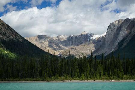 rocky mountains: Rocky Mountains at Maligne Lake near Jasper, Alberta, Canada