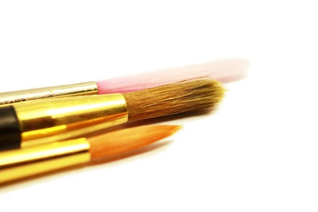 Paintbrushes on a blank canvas.