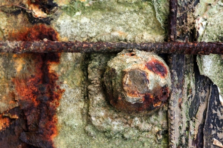 Close up of large rusty bolt embedded in concrete.