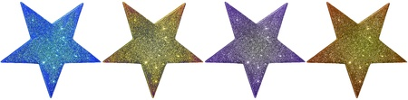 Four different coloured stars isolated on a white background Stock Photo - 17045136