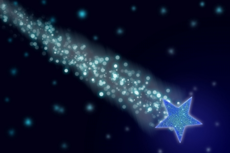 Shooting star in the night sky  Stock Photo