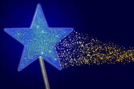 milagros: Varita m�gica lanzar un hechizo sobre un fondo azul
