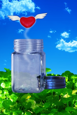 smother: Red winged heart escaping from a glass jar on a bed of green leaves in front of a blue sky