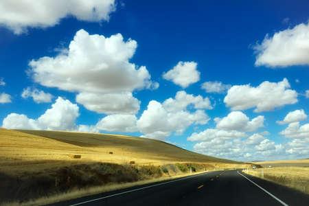 beautiful road with blue sky on background Фото со стока - 80245744