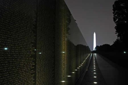 Vietnam Veterans Memorial with the Washington Monument