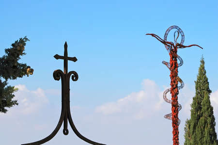 Crucifix and cross atop Mt. Nebo, jordan