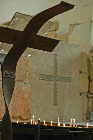 curch: cross inside the curch atop Mt. Nebo, Jordan