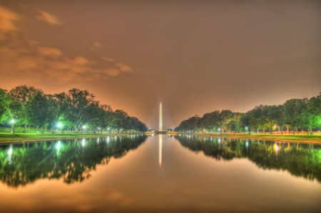 district of columbia: Washington Monument from the reflecting pool HDR, Washington, dc