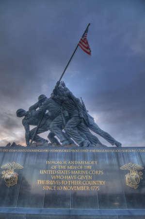 patriotic america: The Iwo Jima Memorial at Sunset in Arlington, VA Editorial