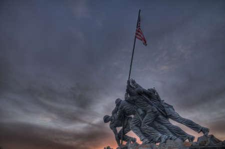va: The Iwo Jima Memorial at Sunset in Arlington, VA Editorial