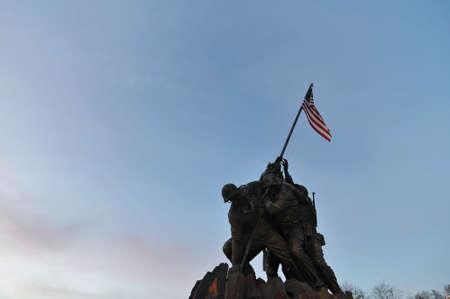 va: The Iwo Jima Memorial at Sunset in Arlington, VA Stock Photo