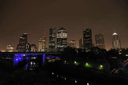 City skyline at night, Houston, Texas photo
