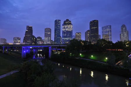 houston: City skyline at dawn, Houston, Texas Stock Photo